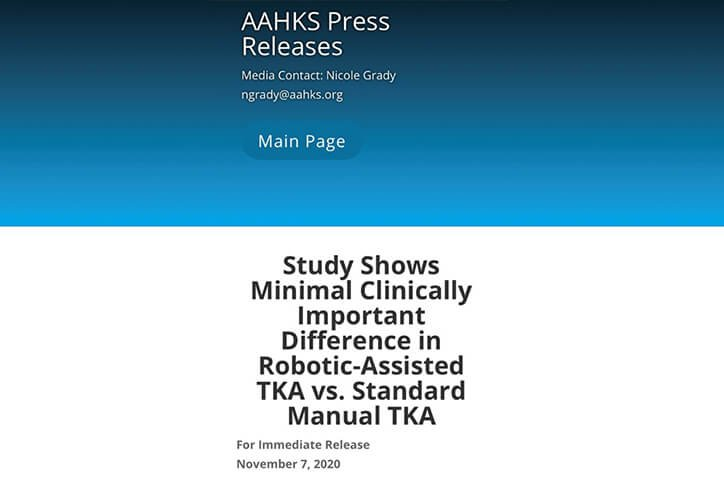 aahks press release screenshot - dr parsons knee replacement surgery portsmouth nh